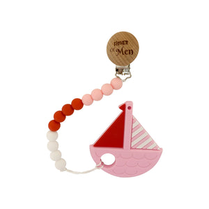 Teether - Silicone Baby Teether W/ Clip - Pink Boat - Fisher Of Men