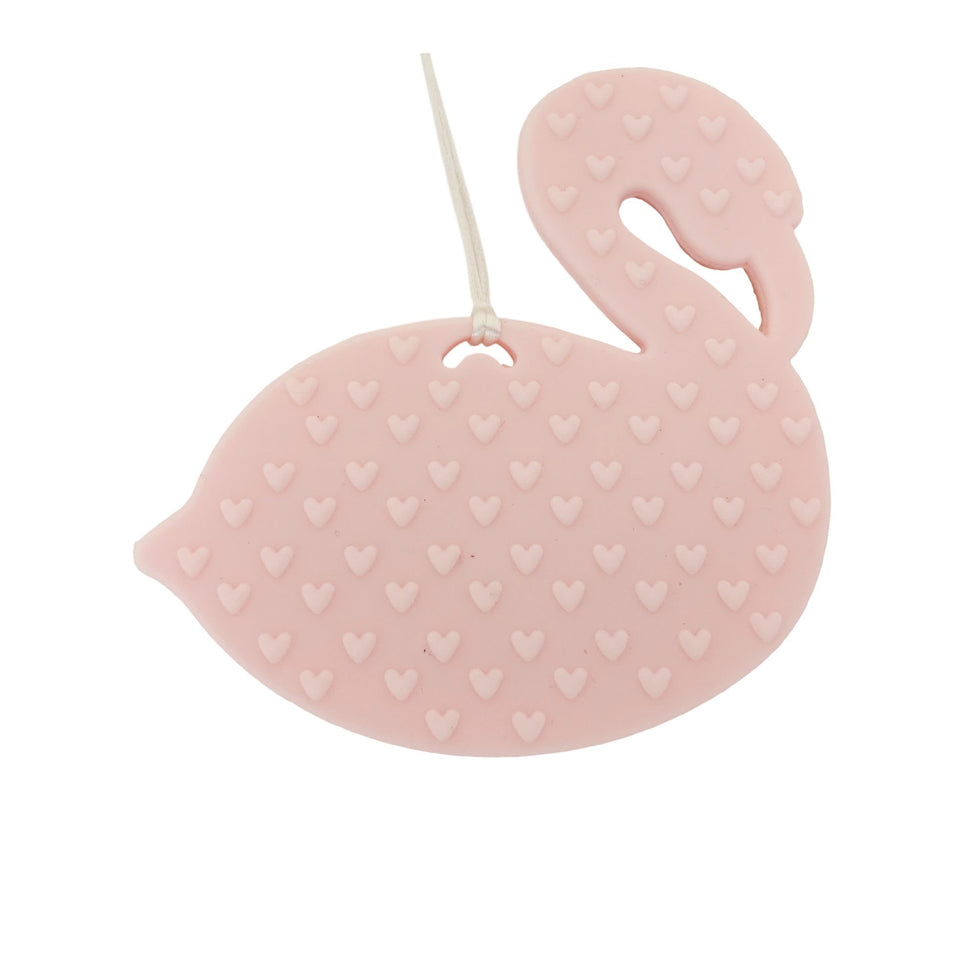 Teether - Silicone Baby Teether W/ Clip - Pink Flamingo - Firm In The Lord