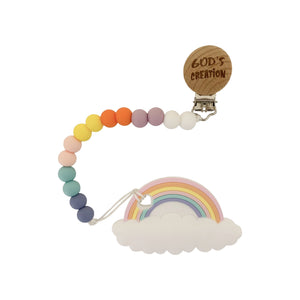 Teether - Silicone Baby Teether W/ Clip - Rainbow - God's Creation