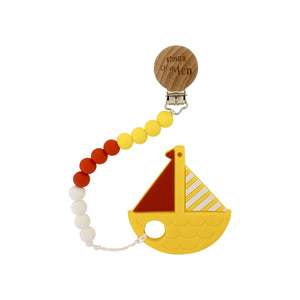 Teether - Silicone Baby Teether W/ Clip - Yellow Boat - Fisher Of Men