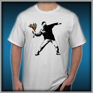 d3fa9b4a Banksy - Rage, Flower Thrower Men's T-Shirts