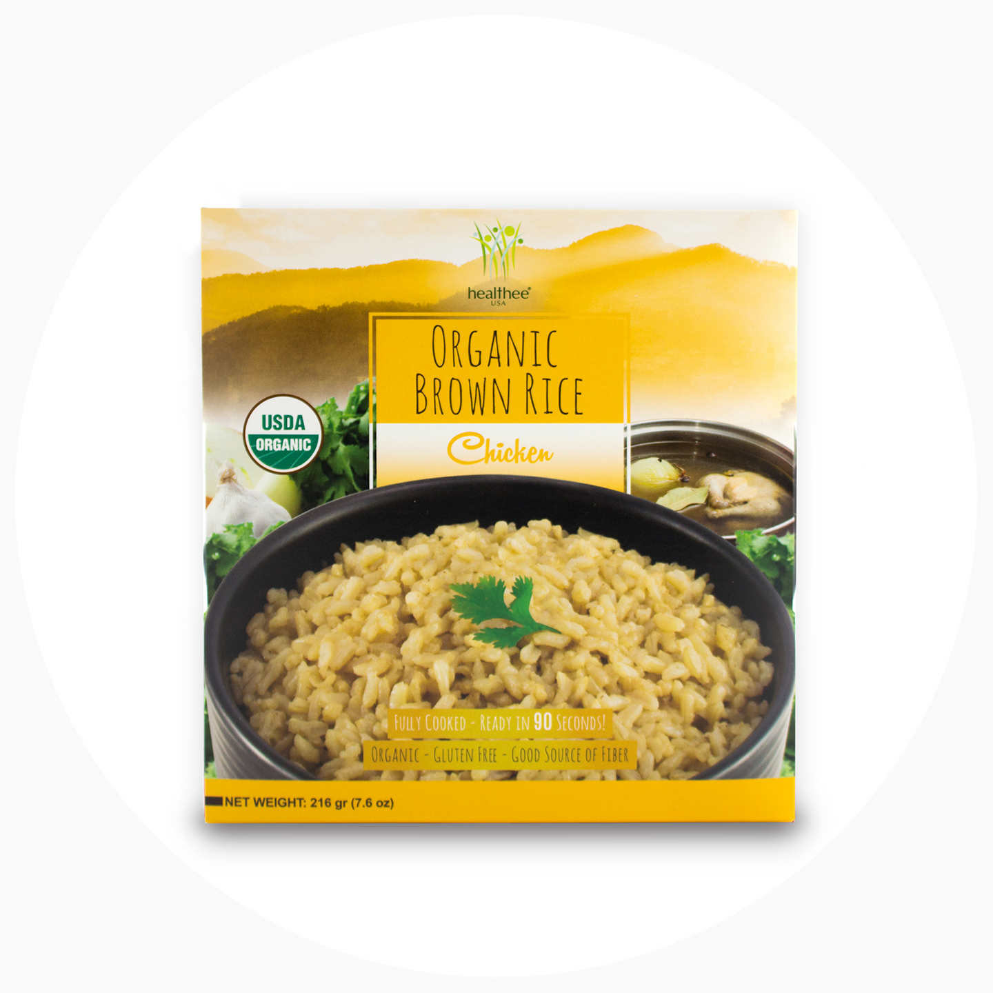 Healthee Organic Chicken Brown Rice - Precooked With Nutrients and Organic Grains