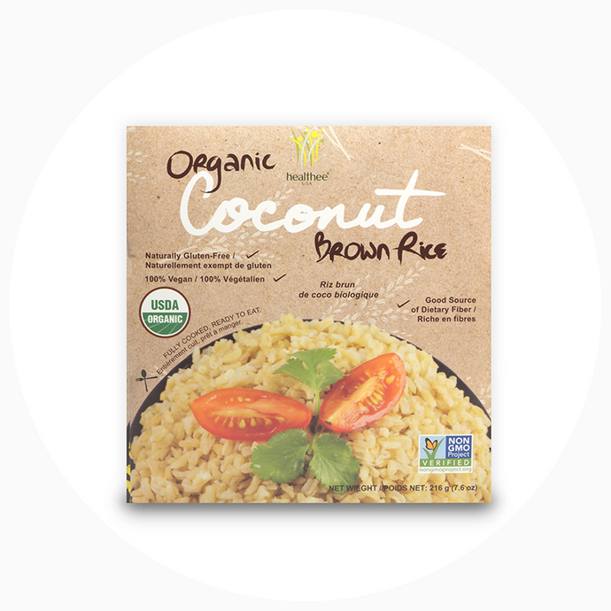 Healthee Organic Coconut Brown Rice - Precooked Whole Grain Rich With Nutrients