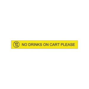 """No Drinks on Cart Please"" Engraved Label plaque"