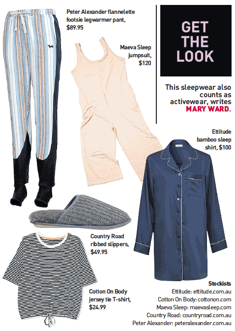 the Sunday age newspaper, print editorial feature in fashion section. Editorial article about sleepwear and pyjamas being the new activewear - featuring the nala jumpsuit by MAEVA Sleep. Luxury French Terry, comfortable, breathable and soft.