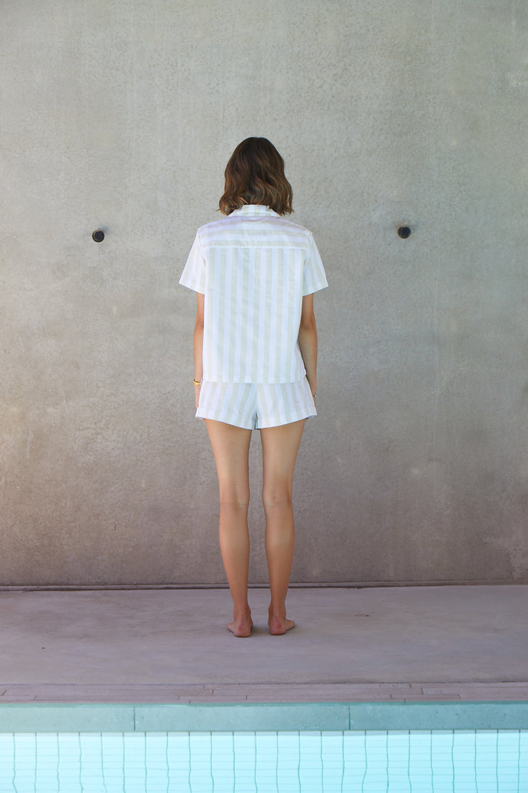 Resort Stripe Short Set | Sand