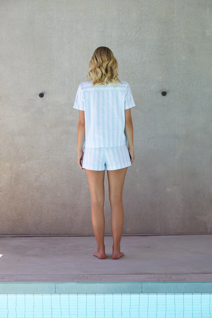 Resort Stripe Short Set | Azure
