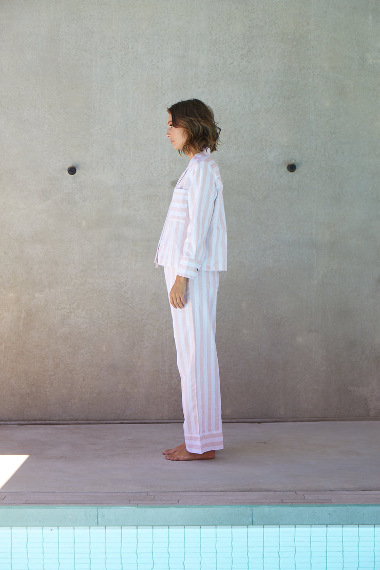Resort Stripe Long Set | Rose