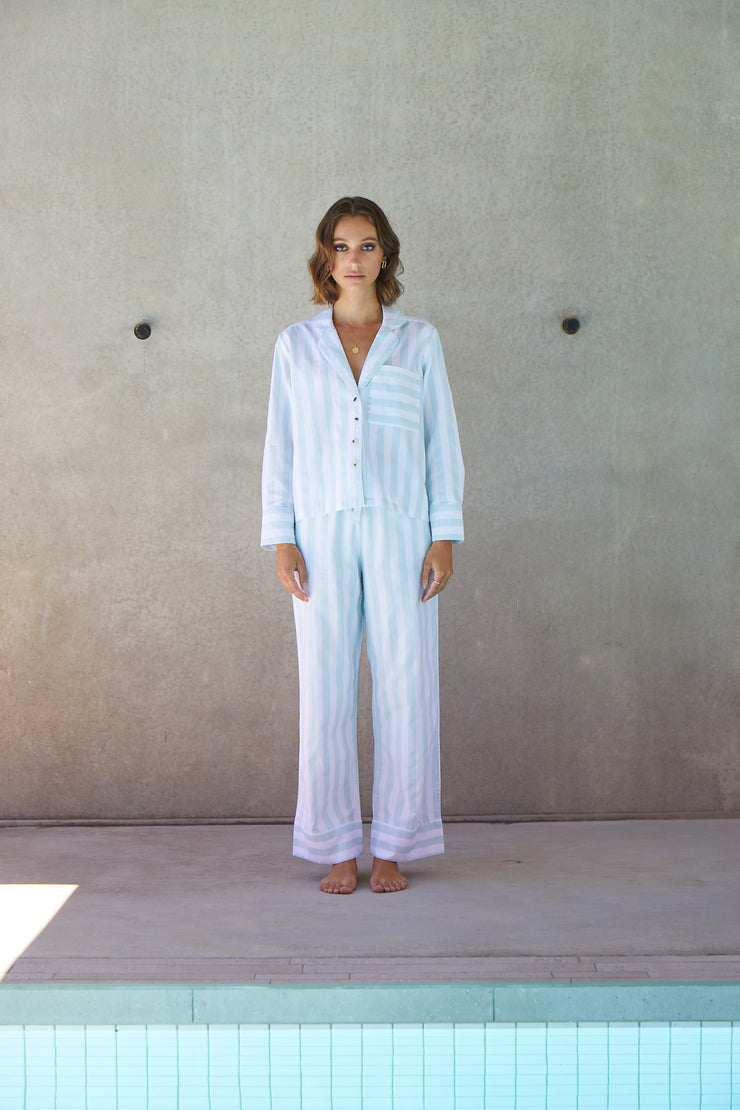Resort Stripe Long Set | Azure