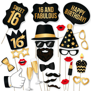 16th Birthday Photo Booth Props - Black and Gold - 34 Count