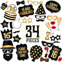 Load image into Gallery viewer, 16th Birthday Photo Booth Props - Black and Gold - 34 Count