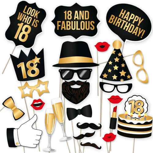 18th Birthday Photo Booth Props - Black and Gold - 34 count