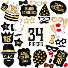 Load image into Gallery viewer, 18th Birthday Photo Booth Props - Black and Gold - 34 count