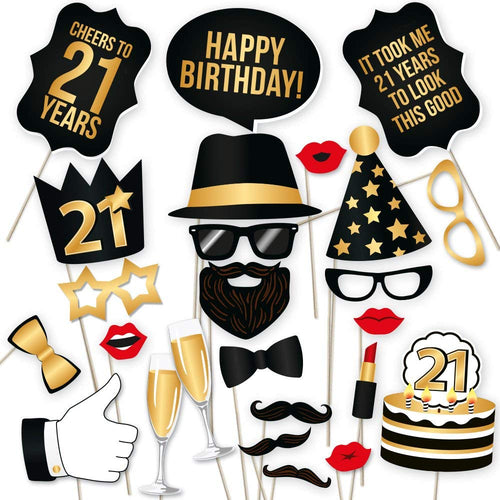 21st Birthday Photo Booth Props - Black and Gold- 34 count