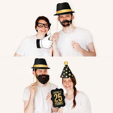 Load image into Gallery viewer, 25th Birthday Photo Booth Props - Black and Gold- 34 count