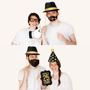 25th Birthday Photo Booth Props - Black and Gold- 34 count