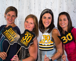 30th Birthday Photo Booth Props - Black and Gold - 34 Count