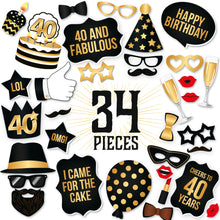 Load image into Gallery viewer, 40th Birthday Photo Booth Props - Black and Gold - 34 Count
