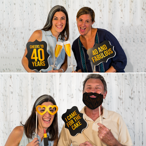 40th Birthday Photo Booth Props - Black and Gold - 34 Count