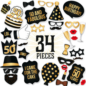 50th Birthday Photo Booth Props - Black and Gold - 34 Count