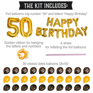 50th Birthday Balloons Set - Black and Gold - 45 piece