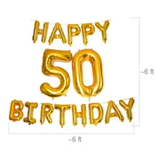 Load image into Gallery viewer, 50th Birthday Balloons Set - Black and Gold - 45 piece