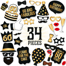 Load image into Gallery viewer, 60th Birthday Photo Booth Props - Black And Gold – 34 Pieces