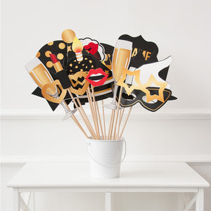 60th Birthday Photo Booth Props - Black And Gold – 34 Pieces