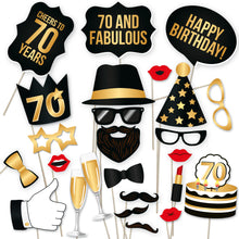 Load image into Gallery viewer, 70th Birthday Photo Booth Props - Black and Gold - 34 Count