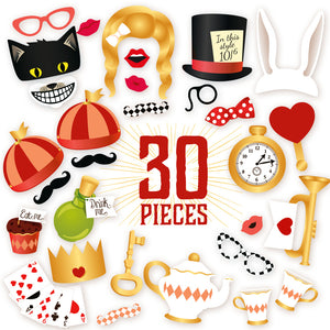 Alice's Adventures in Wonderland Photo Booth Props - 30 Count + EXTRA Photo Booth Sign
