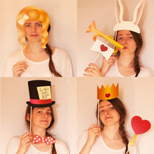 Load image into Gallery viewer, Alice's Adventures in Wonderland Photo Booth Props - 30 Count + EXTRA Photo Booth Sign