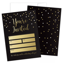 Load image into Gallery viewer, Black and Gold Party Invitations with Envelopes by Hat Acrobat | Perfect for Anniversary, Birthday, Rehearsal Dinner, Bachelorette Party, Graduation, 25 Pack
