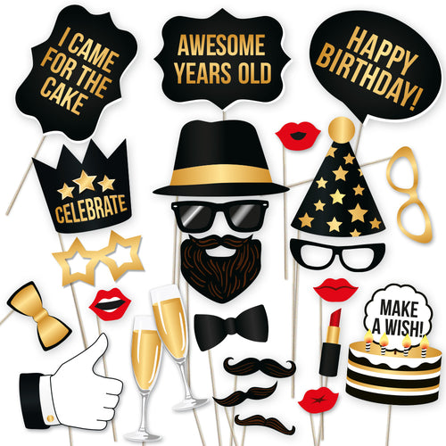 Happy Birthday Photo Props - Black and Gold - 34 Count