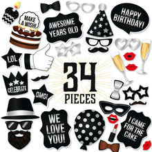 Load image into Gallery viewer, Birthday Photo Booth Props - Silver - 34 Count