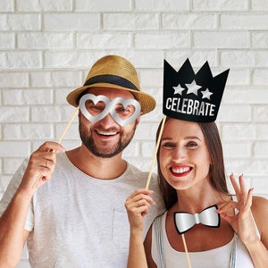 Birthday Photo Booth Props - Silver - 34 Count