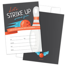 Load image into Gallery viewer, Bowling Party Invitations with Envelopes by Hat Acrobat | Perfect for Bowling Birthday Party, Birthday Invitations for Boys Girls Kids | Bowling Party Supplies, Ideas, Retro Cosmic Style, 25 Pack