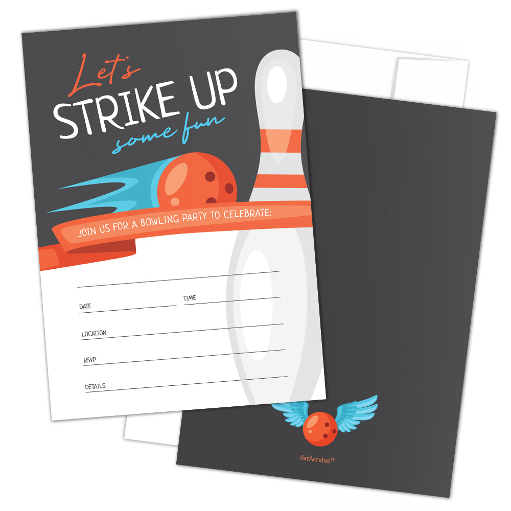 Bowling Party Invitations with Envelopes by Hat Acrobat | Perfect for Bowling Birthday Party, Birthday Invitations for Boys Girls Kids | Bowling Party Supplies, Ideas, Retro Cosmic Style, 25 Pack