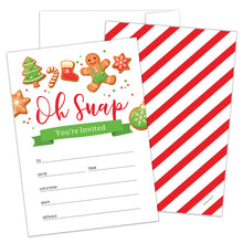 Load image into Gallery viewer, Holiday Party Invitations with Envelopes by Hat Acrobat | Perfect for any Festive Event, Winter Wonderland Baby Shower, Cookie Exchange Christmas Party, New Year, Birthday Supplies Ideas, 25 Pack