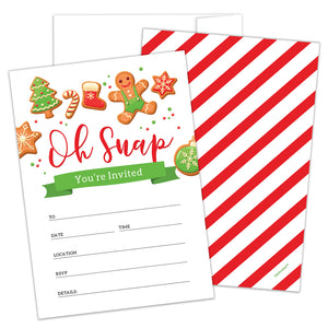 Holiday Party Invitations with Envelopes by Hat Acrobat | Perfect for any Festive Event, Winter Wonderland Baby Shower, Cookie Exchange Christmas Party, New Year, Birthday Supplies Ideas, 25 Pack