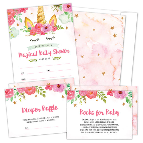 Set of 25 Floral Unicorn Baby Shower Invitations, Diaper Raffle Tickets and Baby Shower Book Request Cards with Envelopes | It's a Girl Boho Rainbow Magical Unicorn Invites For Gender Reveal Party