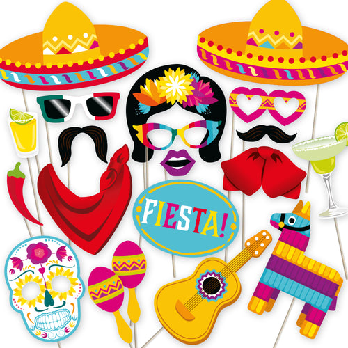 Mexican Fiesta Photo Booth Props - 32 Count
