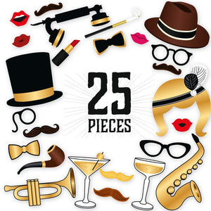 Roaring 20s Photo Booth Props - 25 Count