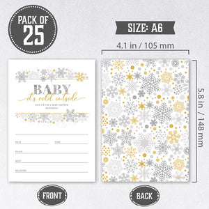 Set of 25 Baby It's Cold Outside Baby Shower Invitations, Diaper Raffle Tickets, Book Request Cards with Envelopes | Snowflake Winter Wonderland Gender Neutral Invites, Perfect for Baby Girls, Boys