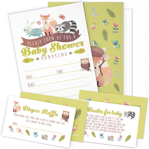 Woodland Baby Shower Invitation Cards with Envelopes - 25 Count