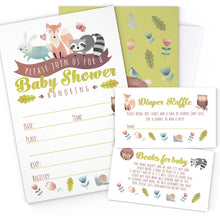Load image into Gallery viewer, Woodland Baby Shower Invitation Cards with Envelopes - 25 Count