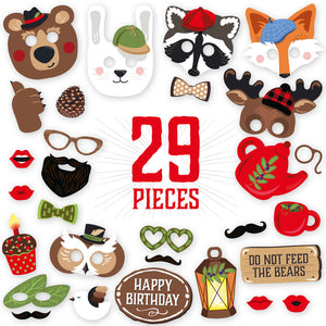 Woodland Creature Photo Booth Props - 29 count