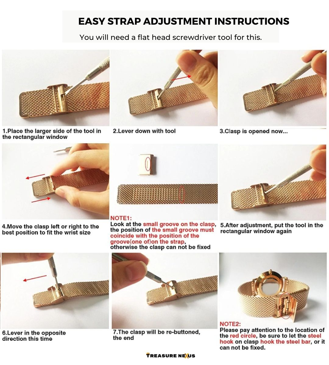 Adjusting strap length (for specific watch bands)
