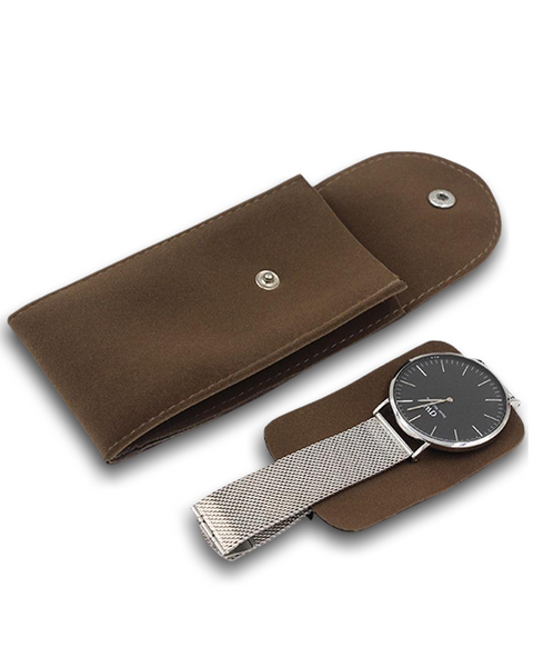 Travel Friendly Flannel Watch Carry Pouch - Coffee - Treasure Nexus