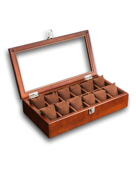 Wooden Vintage 12 Watch Collection Case with Chrome Clasp & Hinges - Hillard & Bosch