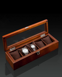 Wooden Vintage 5 Watch Collection Case with Chrome Clasp & Hinges